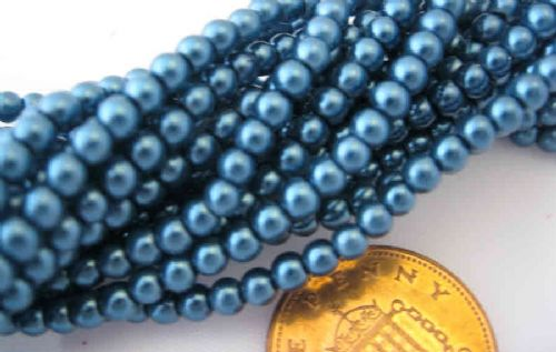 Glass Pearl Beads Steel Blue 3mm